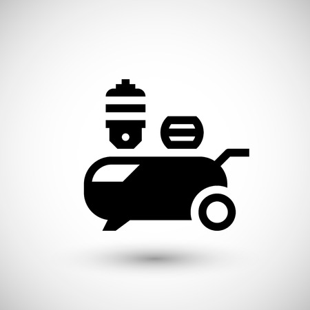 compressed: Air compressor icon isolated on grey. Illustration