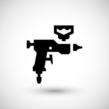 paint gun: Paint gun icon isolated on grey.