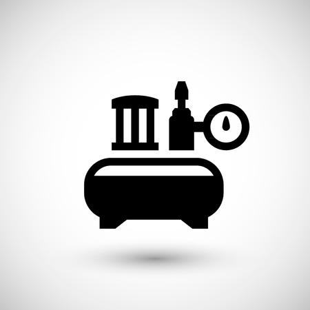 Compresseur d'air icône isolé sur gris. Vecteurs