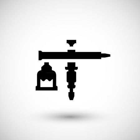 compressed air: gun icon isolated on grey.