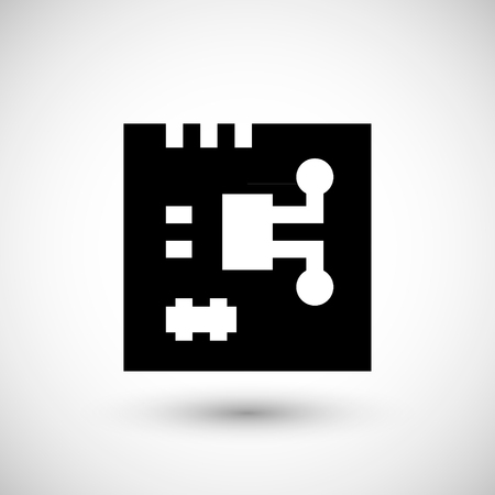 semiconductors: Electronic chip icon isolated on grey