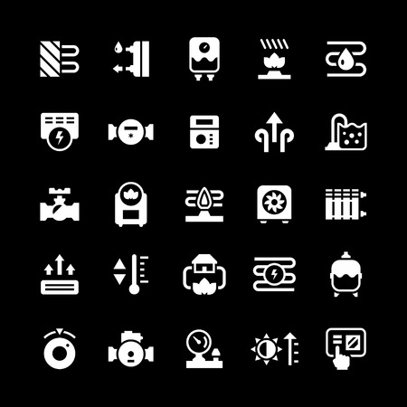 boiler: Set icons of heating isolated on black