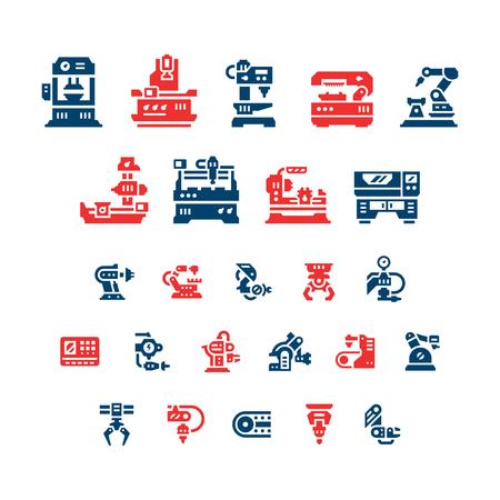 Conjunto de iconos de colores de la máquina-herramienta, la industria robótica aislados en blanco. Ilustración de vector