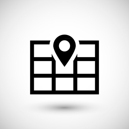 internet mark: Map pointer icon isolated on grey