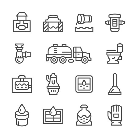 septic: Set line icons of sewerage isolated on white
