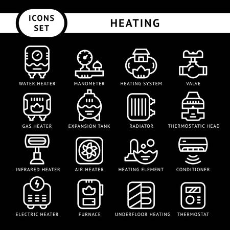 gas radiator: Set line icons of heating isolated on black