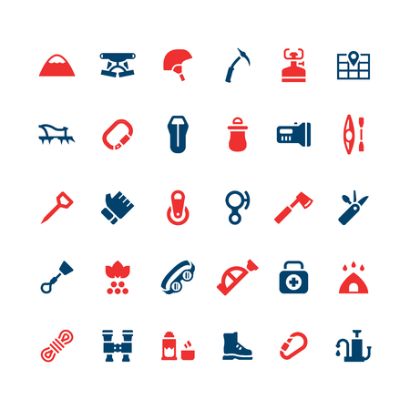 travel burner: Set color icons of camping and mountaineering isolated on white