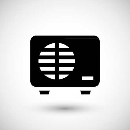 power supply unit: External air conditioning unit icon isolated on grey. Vector illustration Illustration