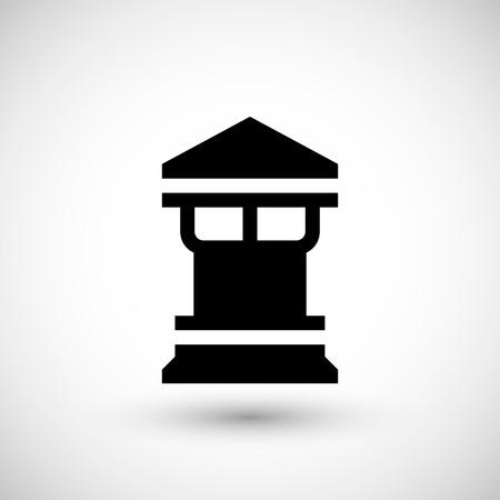 flue: Modern chimney icon isolated on grey. Vector illustration Illustration