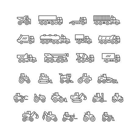 Set lijn iconen van vrachtwagens en tractoren op wit wordt geïsoleerd. vector illustratie