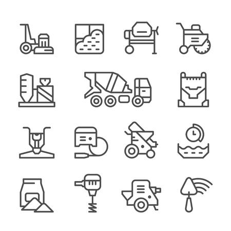Zestaw ikon linii betonu na białym. ilustracji wektorowych