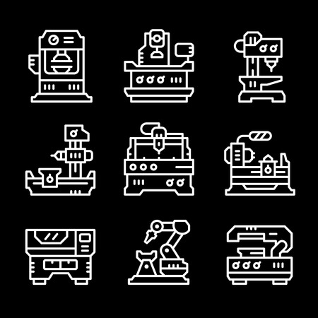 cutting: Set line icons of machine tool isolated on black. Vector illustration