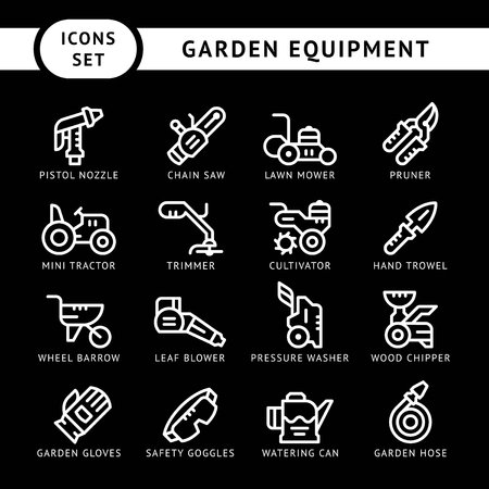 Set line icons of garden equipment isolated on black. Vector illustration Illustration