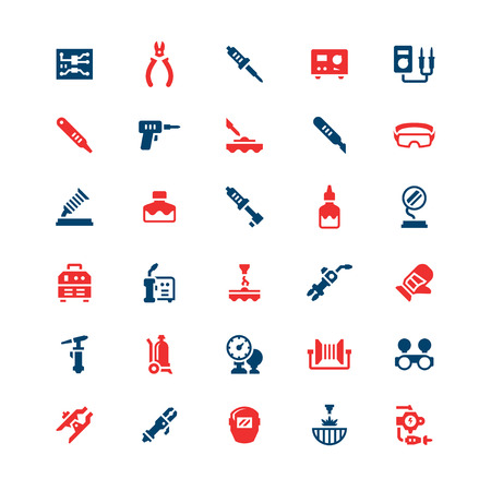 electric torch: Set color icons of welding and soldering isolated on white. Vector illustration