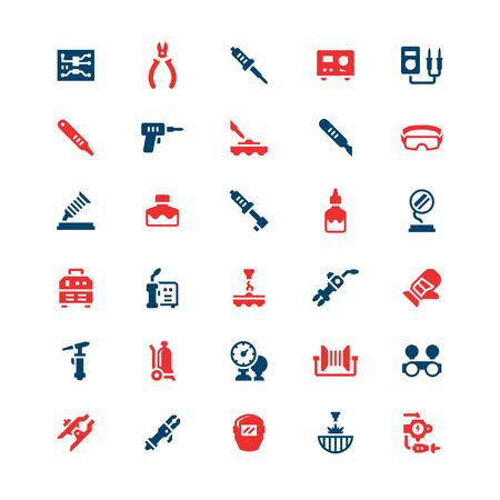 Zestaw kolorowe ikony spawania i lutowania na białym. ilustracji wektorowych Ilustracje wektorowe