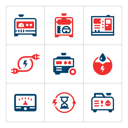 Fije los iconos de color de generador eléctrico aislado en blanco. ilustración vectorial