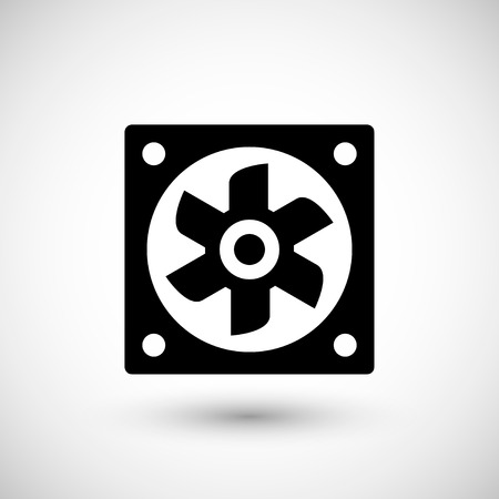 vent: Ventilation fan icon isolated on grey. Vector illustration