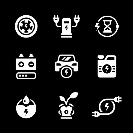 recharging: Set icons of electric car isolated on black. Vector illustration