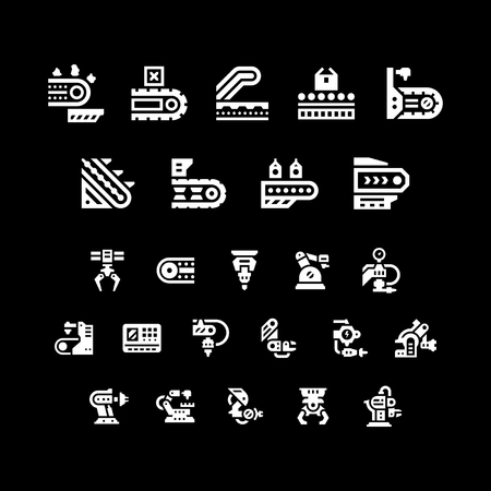 industrial belt: Set icons of conveyor and robotic industry isolated on black. Vector illustration