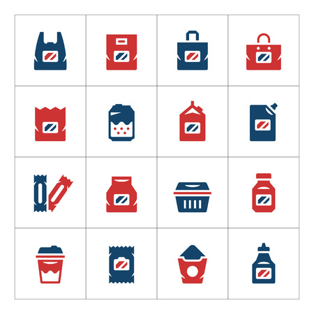 pouch: Set color icons of package isolated on white. Vector illustration Illustration
