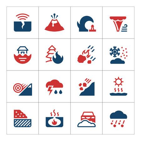 Set kleur iconen van de natuurramp op wit wordt geïsoleerd. vector illustratie Vector Illustratie