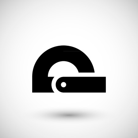 protractor: Modern protractor icon isolated on grey. Vector illustration