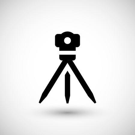 measuring instruments: Geodetic level icon isolated on grey. Vector illustration Illustration