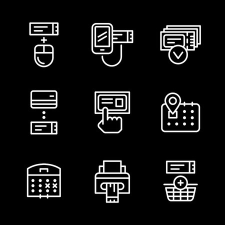 booking: Set line icons of booking tickets isolated on black. Vector illustration