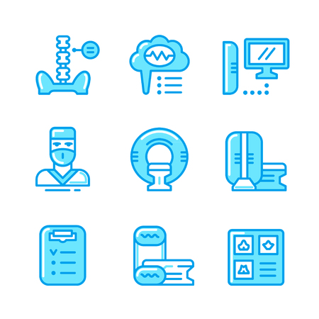 magnetic resonance imaging: Set color line icons of magnetic resonance imaging isolated on white. Vector illustration