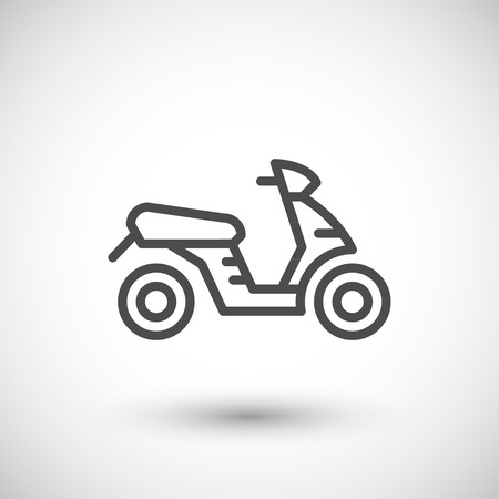 delivery icon: Modern scooter line icon isolated on grey. Vector illustration