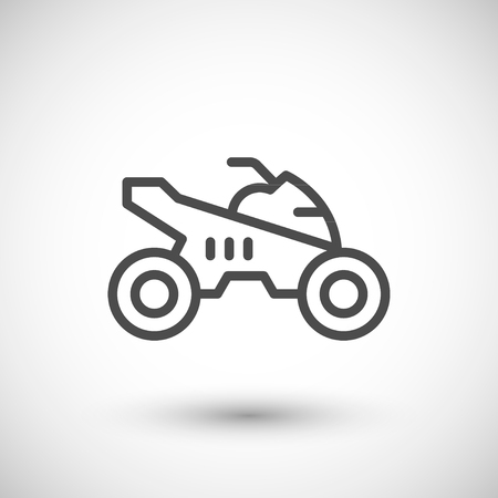 quad: Quad bike line icon isolated on grey. Vector illustration Illustration