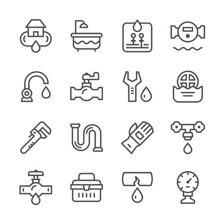 tube wrench: Set line icons of plumbing isolated on white. Vector illustration Illustration