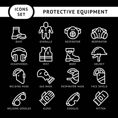 respirator: Set line icons of protecting equipment isolated on black. Vector illustration