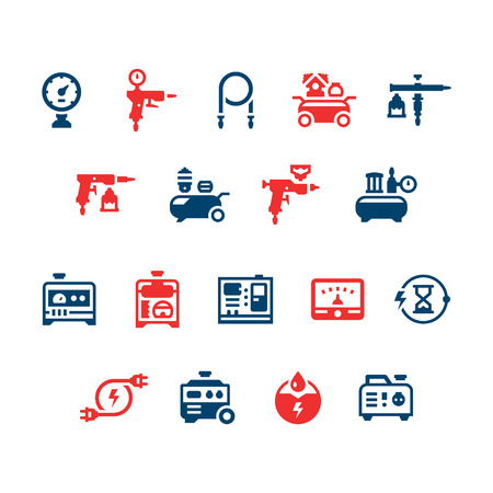 air compressor: Set color icons of electric generator and air compressor isolated on white. Vector illustration Illustration