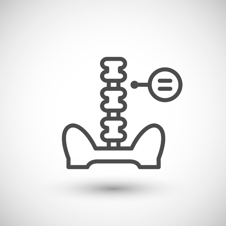 lumbar: Human spine line icon isolated on grey. Vector illustration Illustration