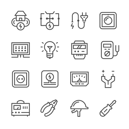 voltage: Set line icons of electricity isolated on white. Vector illustration