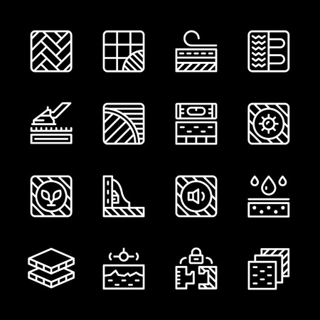 carpet flooring: Set line icons of floor isolated on black. Vector illustration Illustration