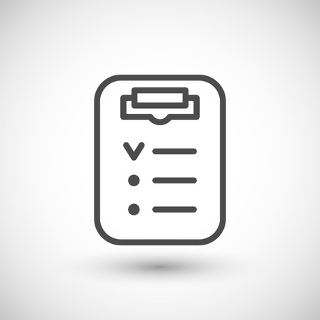 grey line: Checklist line icon isolated on grey. Vector illustration