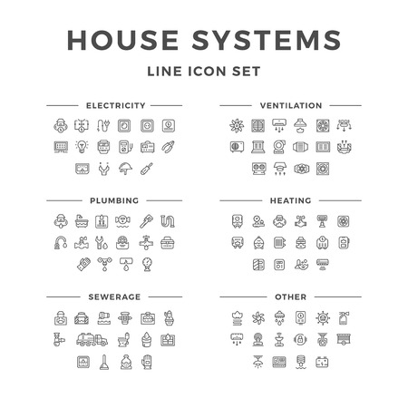 cooling: Set line icons of house systems isolated on white. Vector illustration