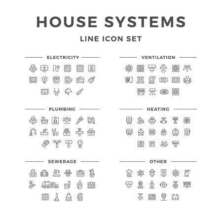 Zestaw ikon linia systemów dom wyizolowanych na białym tle. ilustracji wektorowych