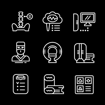 magnetic resonance imaging: Set line icons of magnetic resonance imaging isolated on black. Vector illustration Illustration