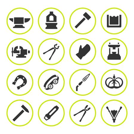 Set round icons of forge isolated on white. Vector illustration Illustration