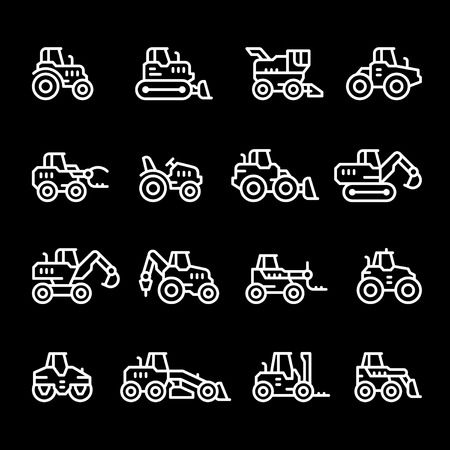 road grader: Set line icons of tractors, farm and buildings machines, construction vehicles isolated on black. Vector illustration
