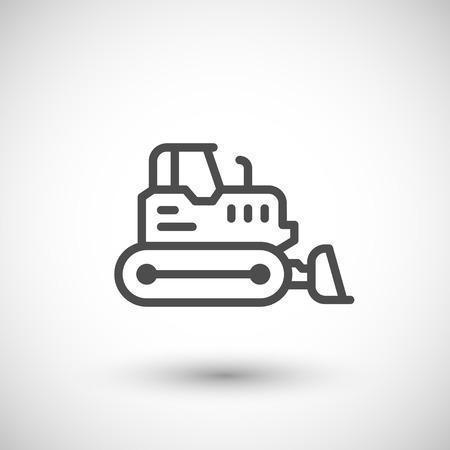 crawler tractor: Crawler bulldozer line icon isolated on grey. Vector illustration