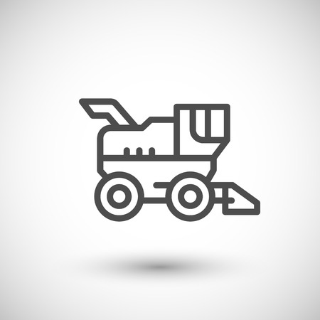 harvester: Combine harvester line icon isolated on grey. Vector illustration
