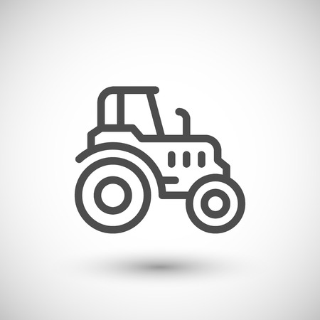 agrarian: Agricultural tractor line icon isolated on grey. Vector illustration