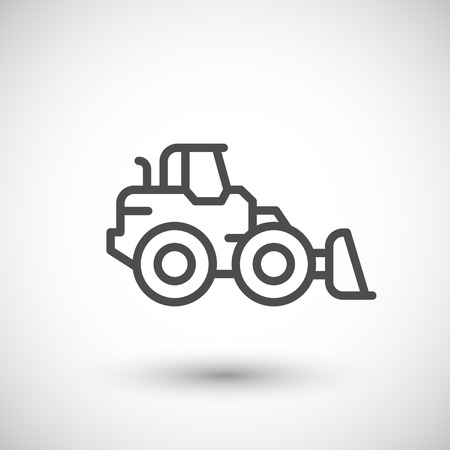 grey line: Wheel loader line icon isolated on grey. Vector illustration
