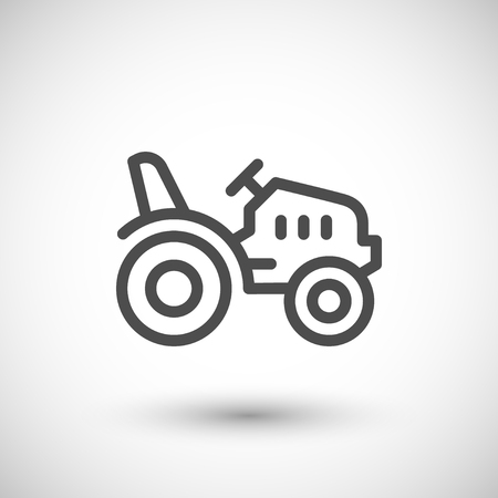 mini: Mini tractor line icon isolated on grey. Vector illustration