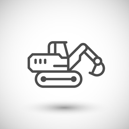 Crawler excavator line icon isolated on grey. Vector illustration Çizim