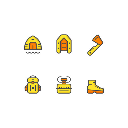 travel burner: Set color line icons of camping isolated on white. illustration
